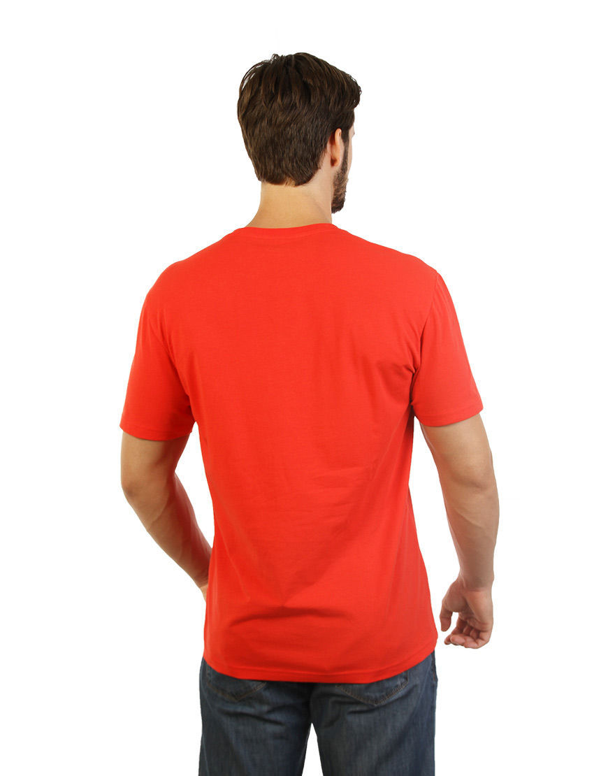 cotton stretch mens t shirt red back
