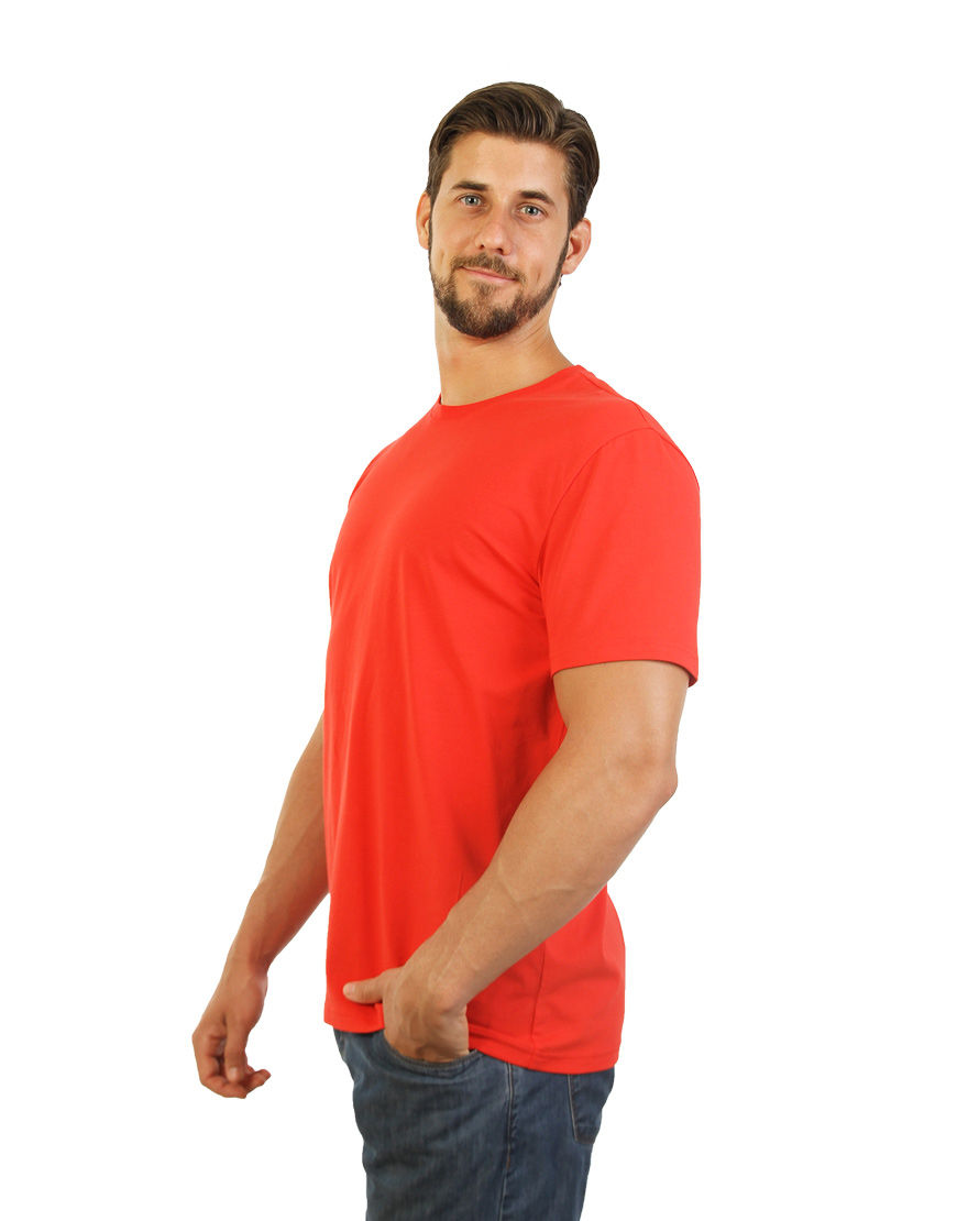 cotton stretch mens t shirt red left