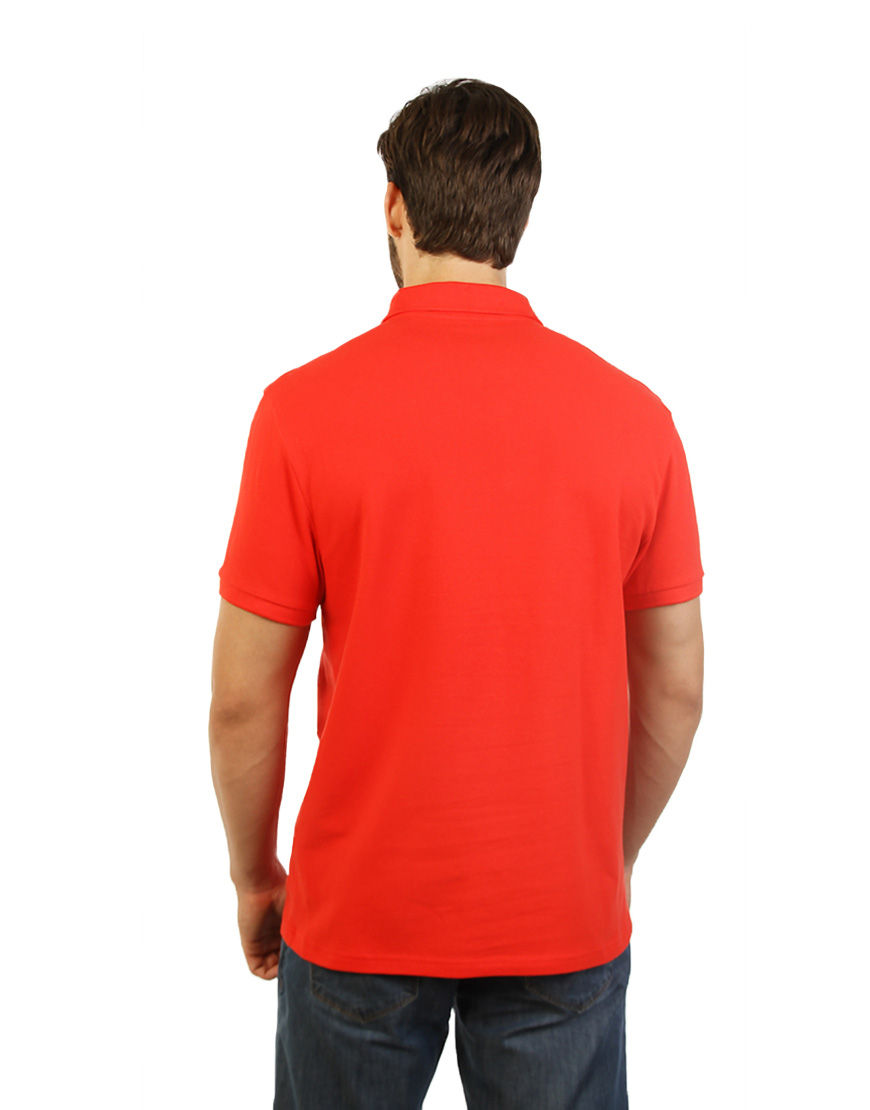 cotton stretch unisex polo red back