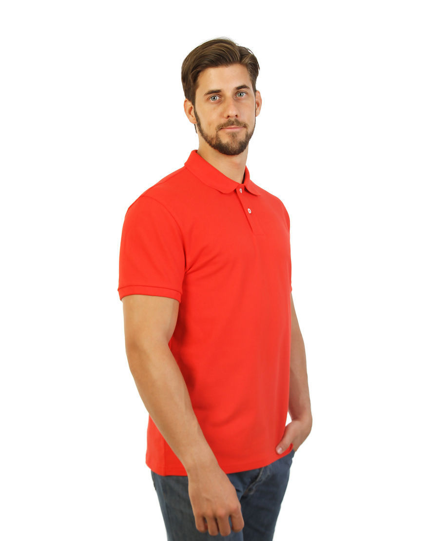 cotton stretch unisex polo red right