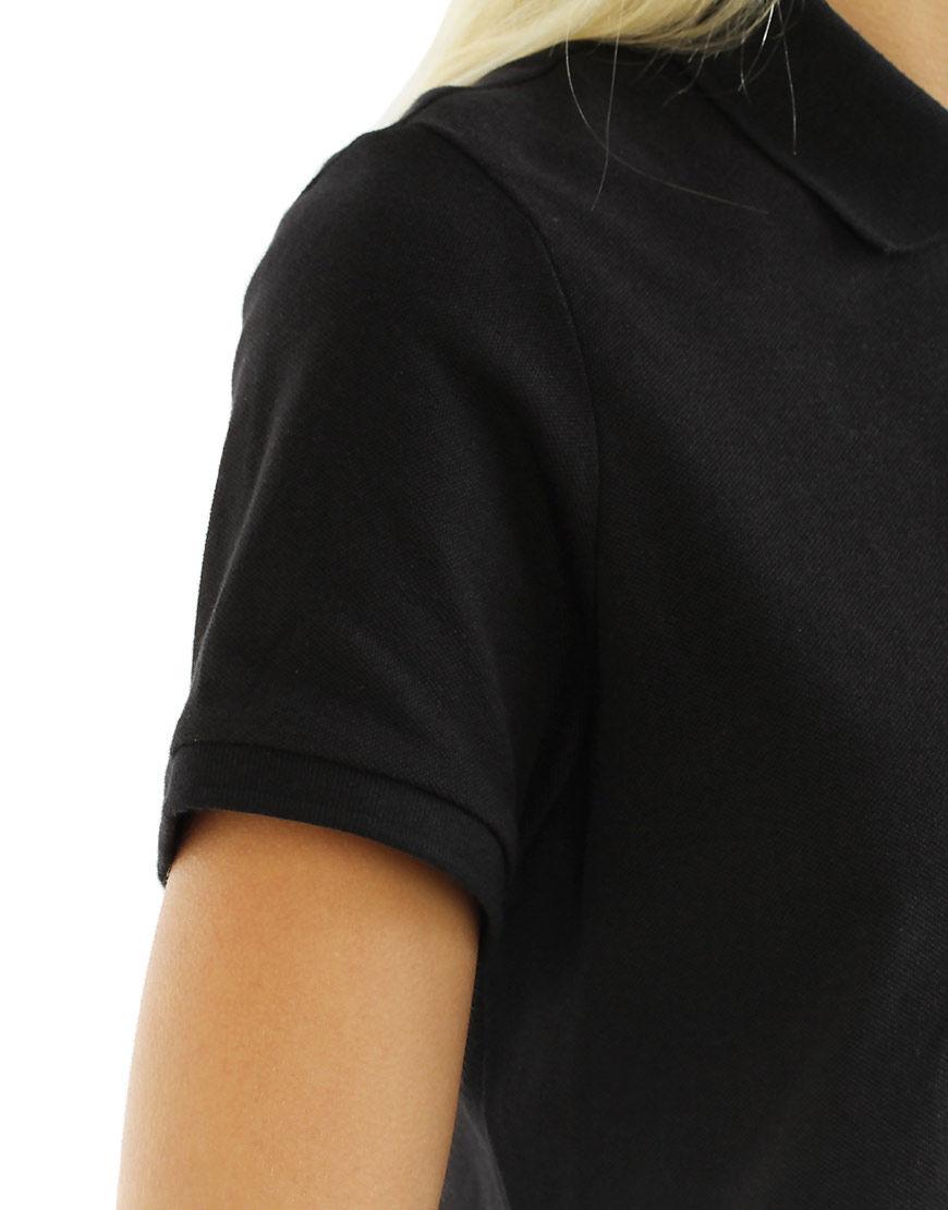 cotton stretch women polo black sleeve