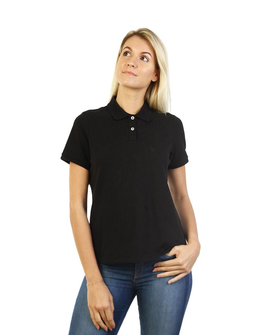 cotton stretch women polo black