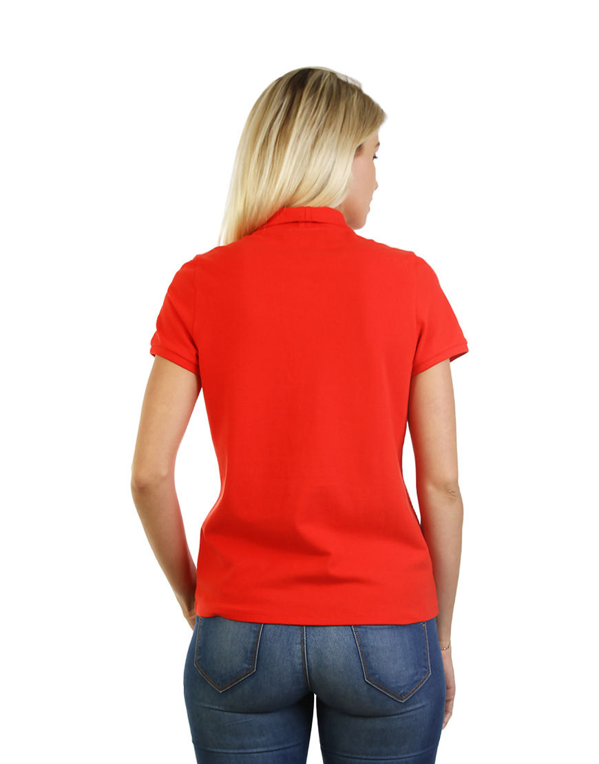 cotton stretch women polo red back