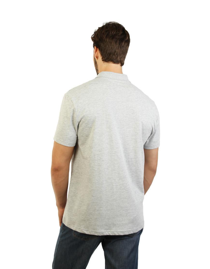 cotton unisex polo grey back