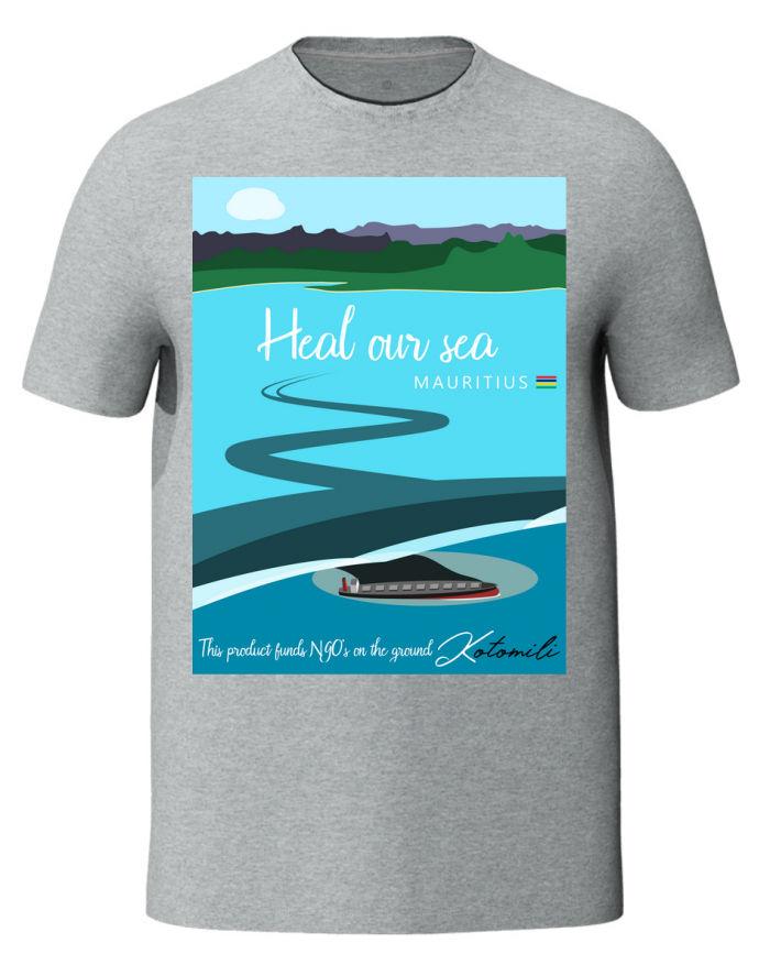 Heal our sea Mauritius men's grey t-shirt