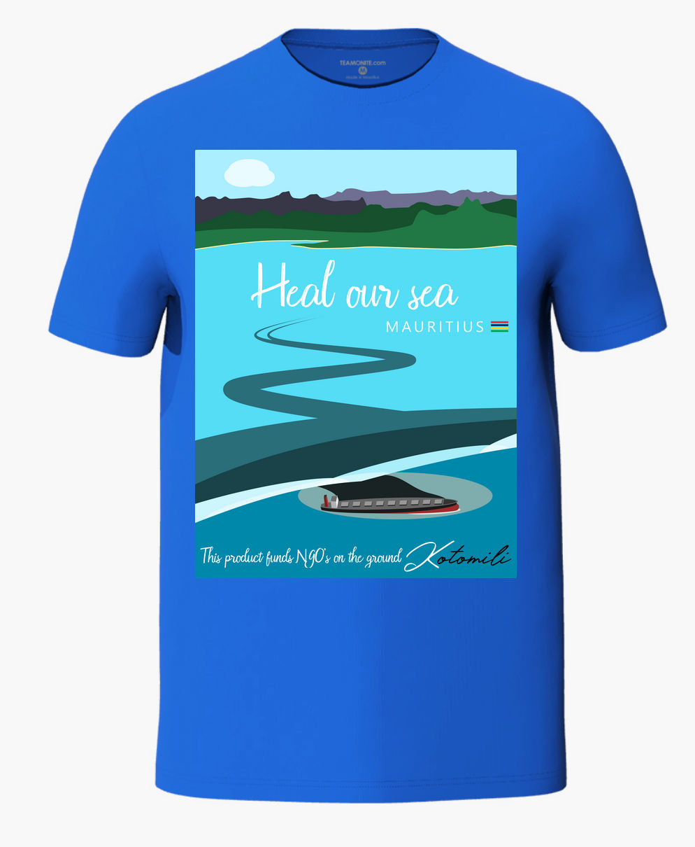 Heal our sea Mauritius men's blue t-shirt