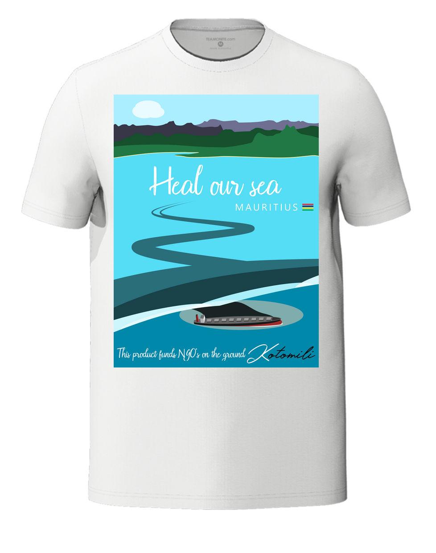 Heal our sea Mauritius men's white t-shirt