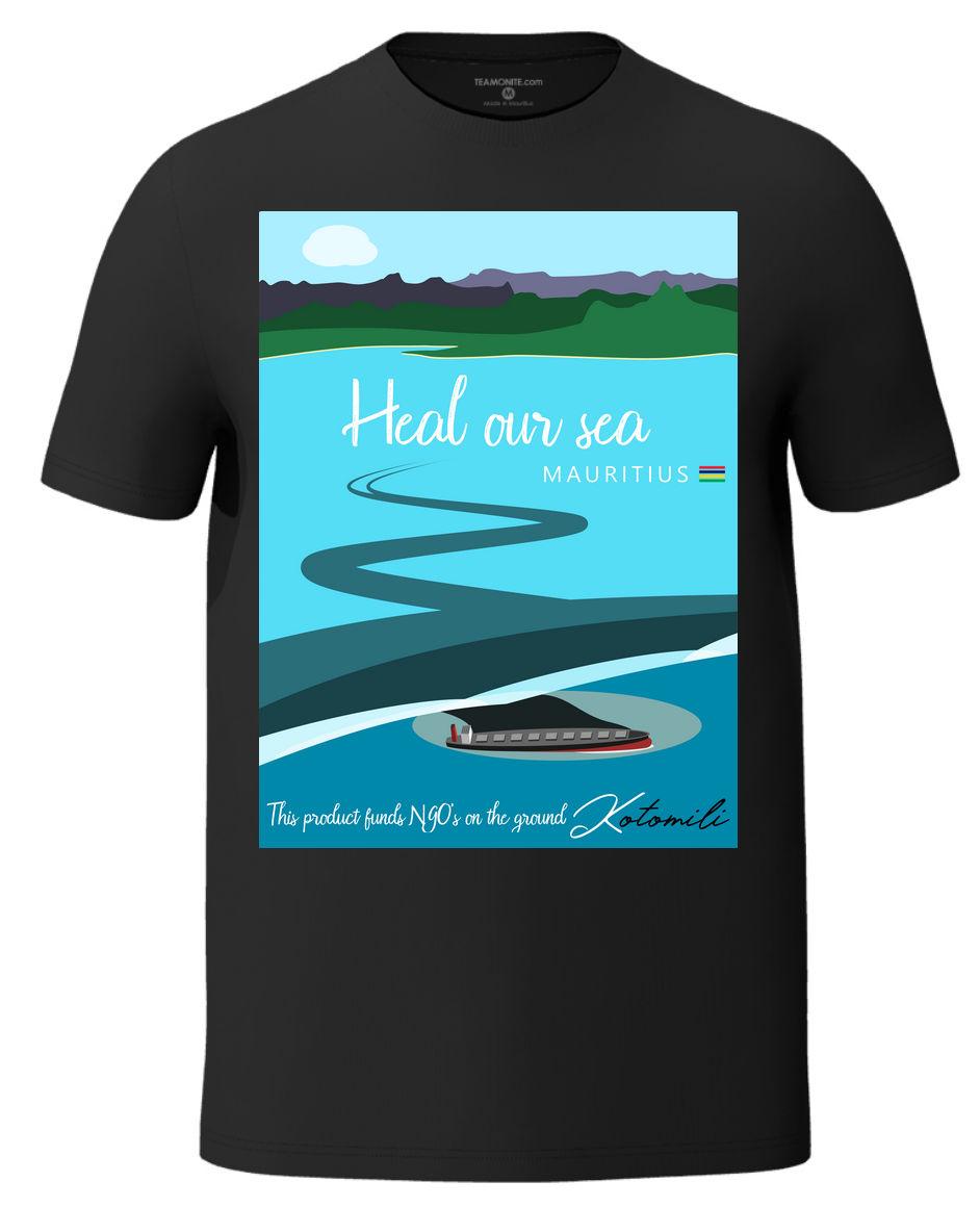 Heal our sea Mauritius men's black t-shirt