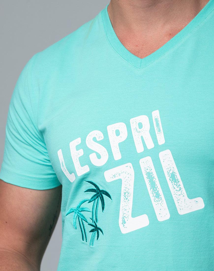 Lespri Zil V-neck Aqua T-shirt Close Up