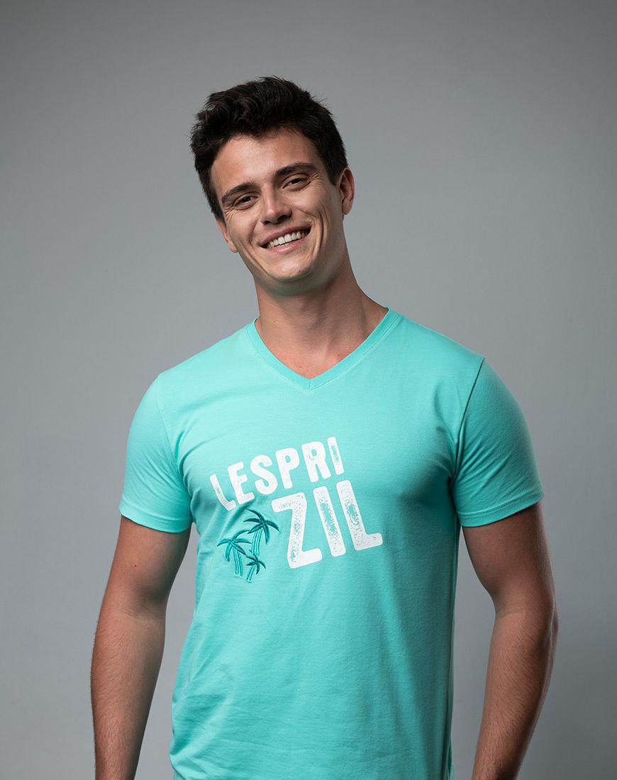 Lespri Zil V-neck Aqua T-shirt Front