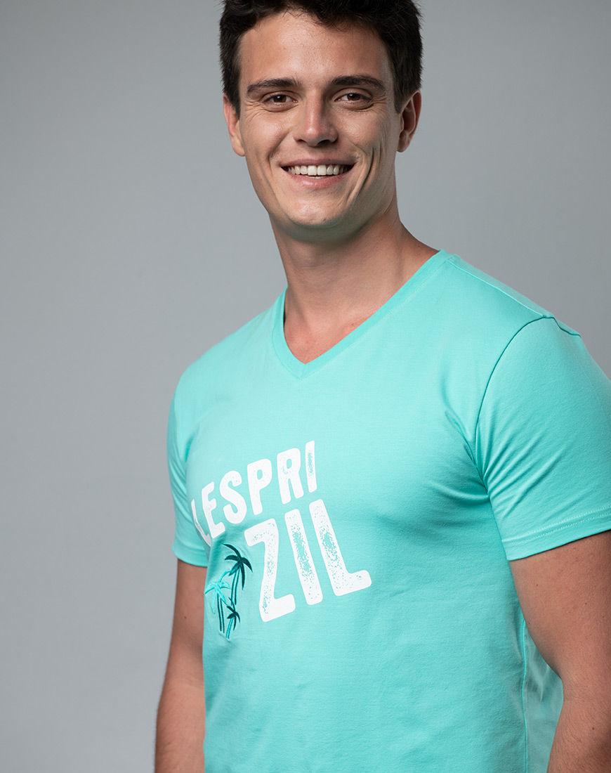 Lespri Zil V-neck Aqua T-shirt Side