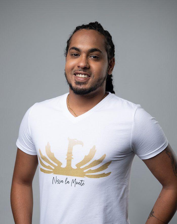 Lespri Zil Nissa la Monte White V-neck T-shirt front