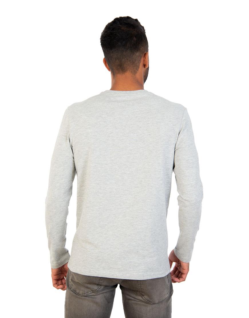 long sleeve unisex t shirt grey back