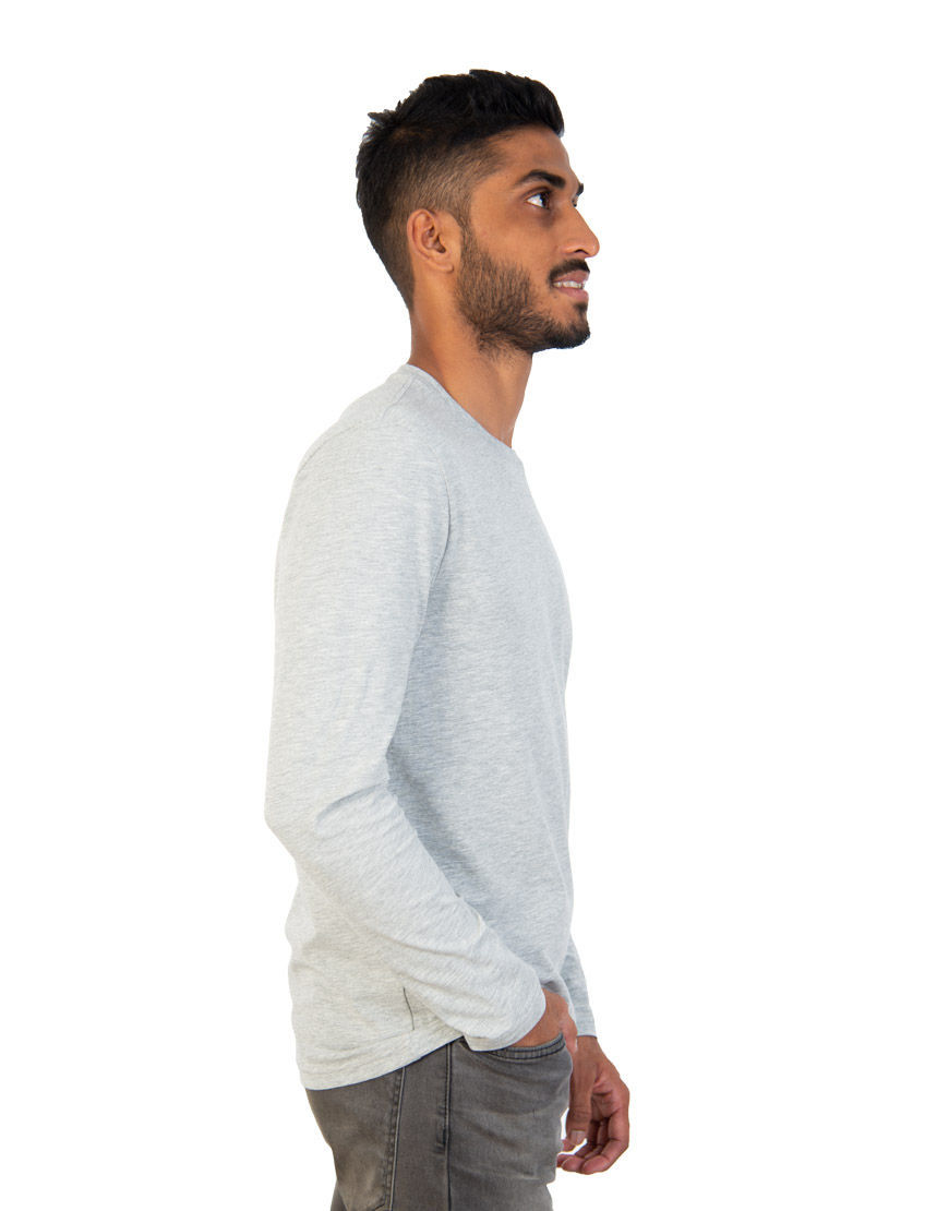 long sleeve unisex t shirt grey right