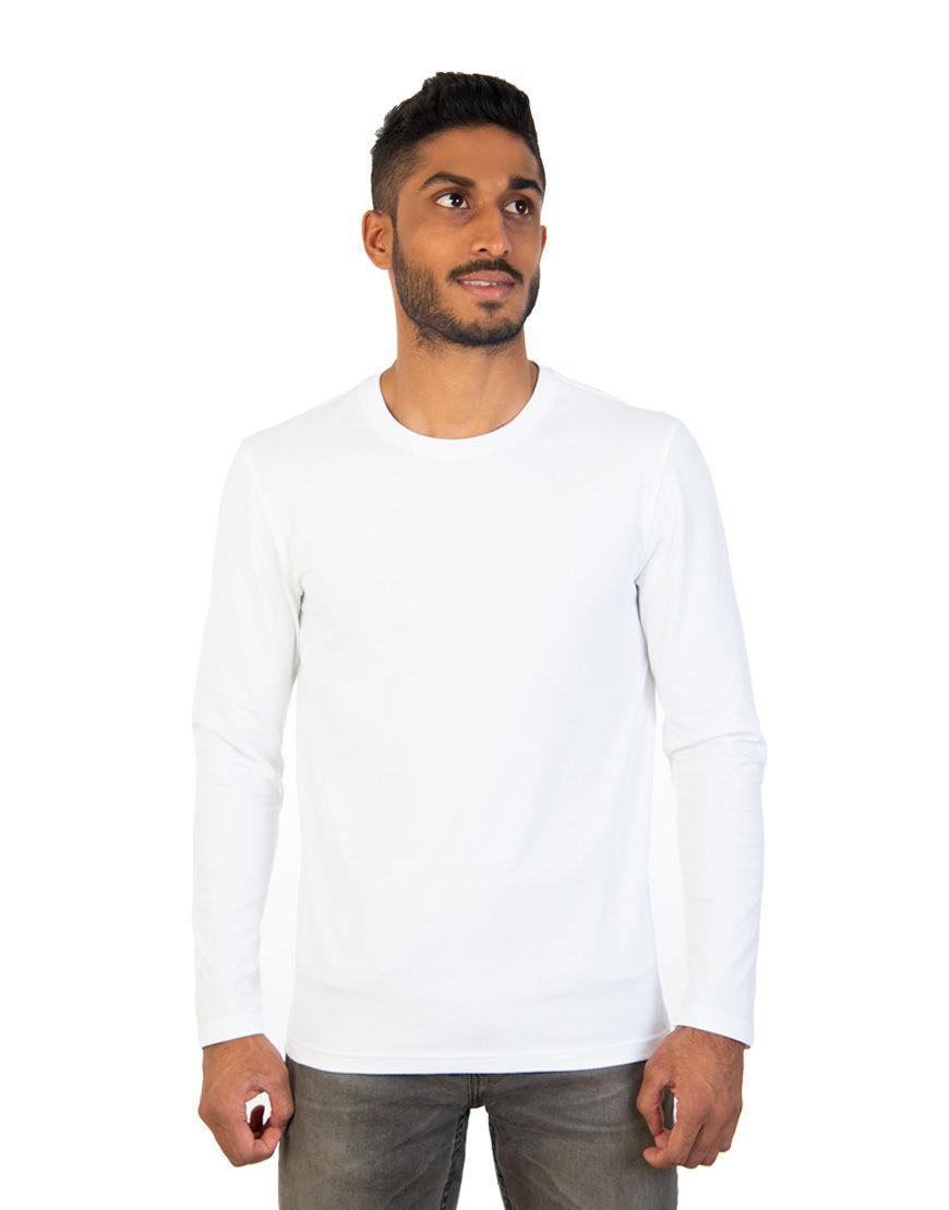 long sleeve unisex t shirt white front