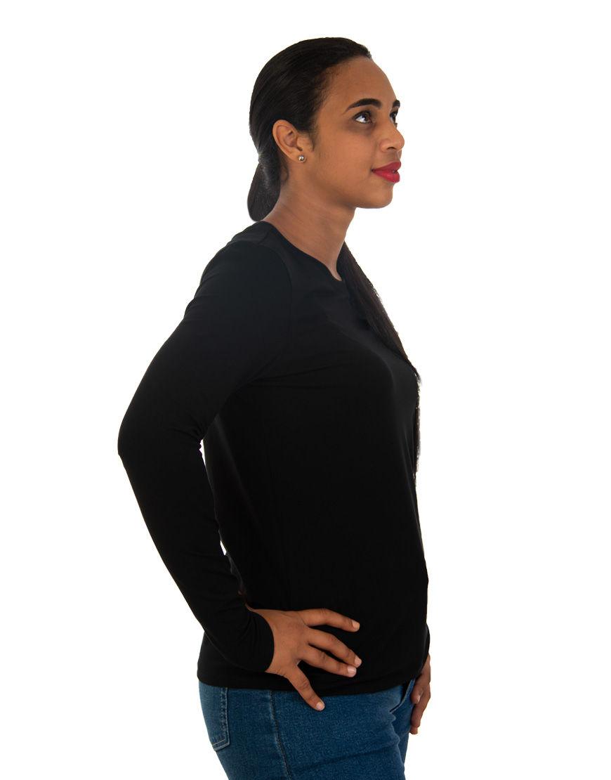 long sleeve women t shirt black right