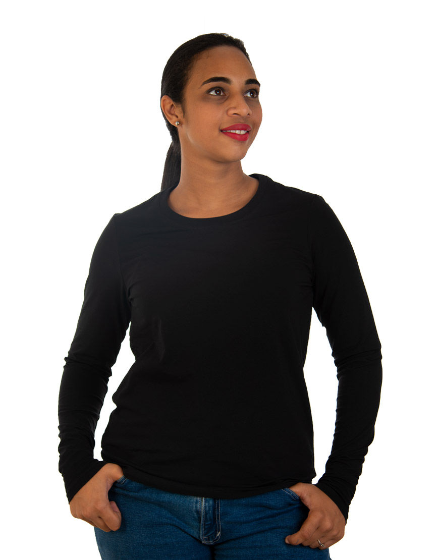long sleeve women t shirt black