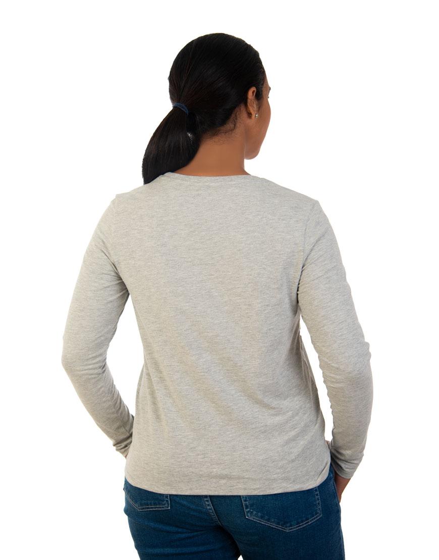 long sleeve women t shirt grey back