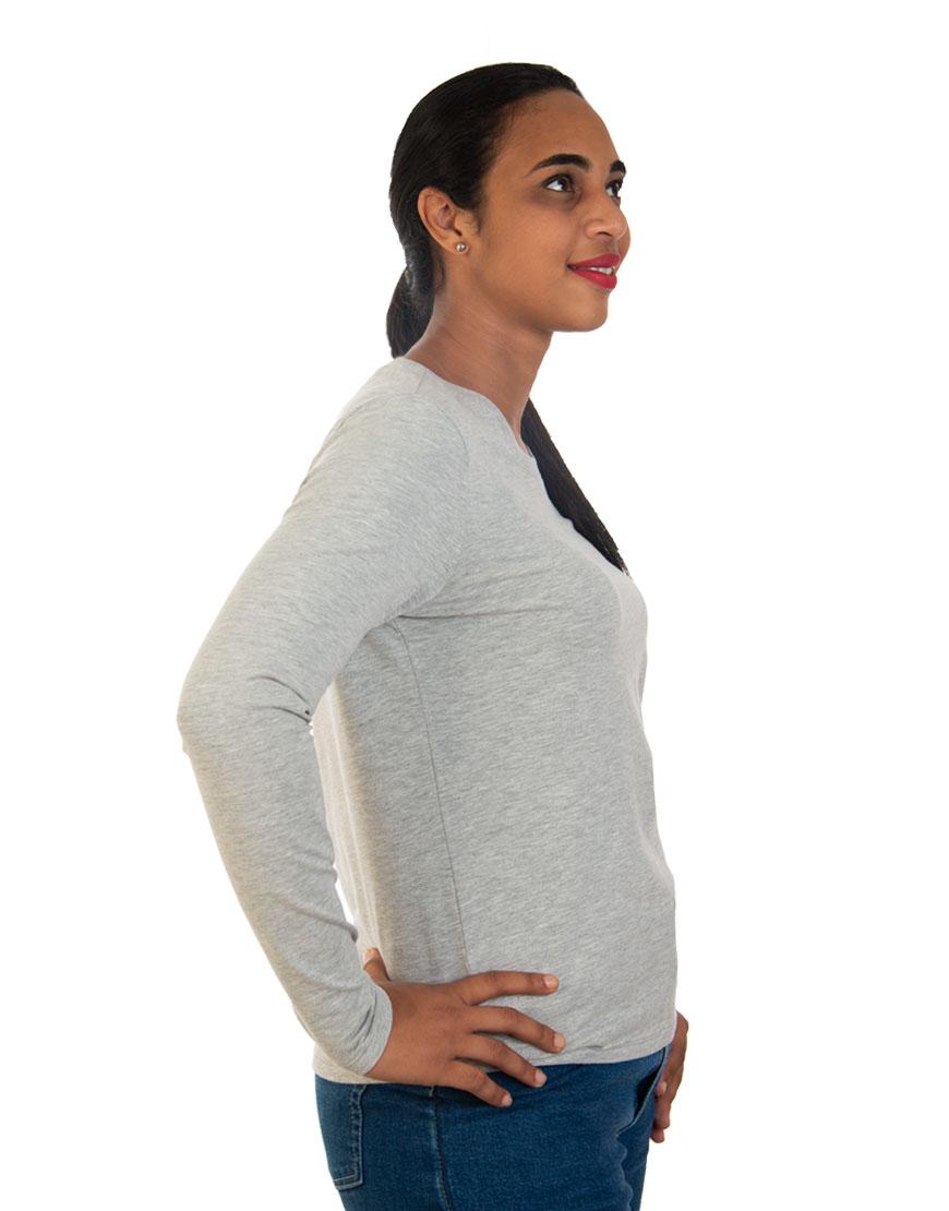 long sleeve women t shirt grey right