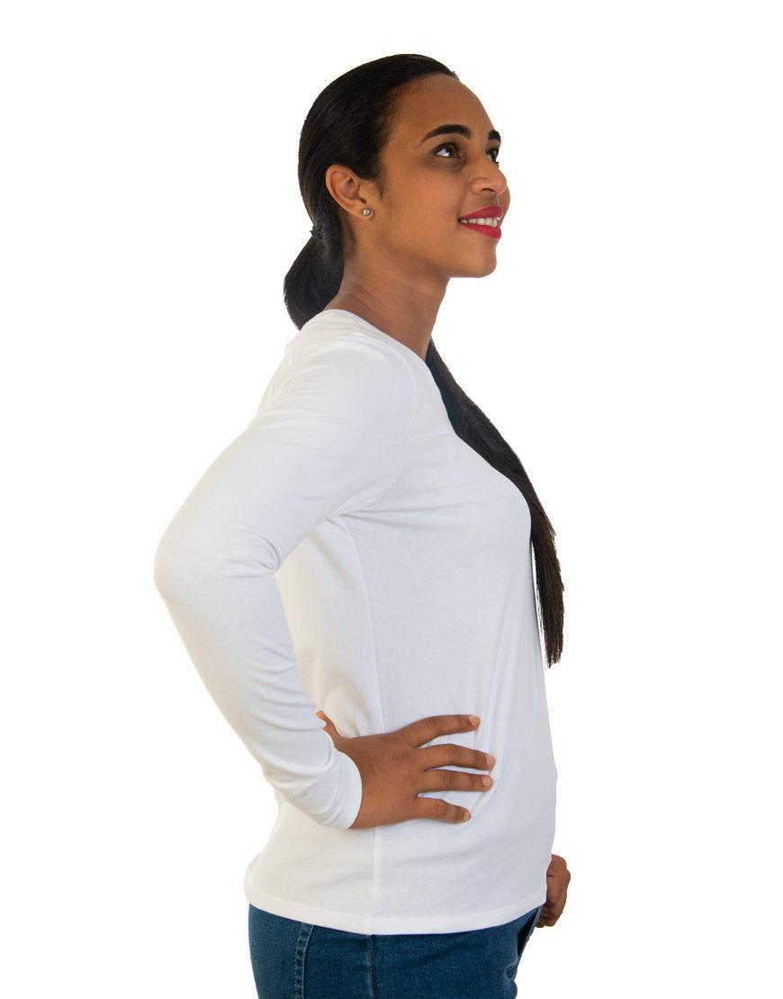 long sleeve women t shirt white right