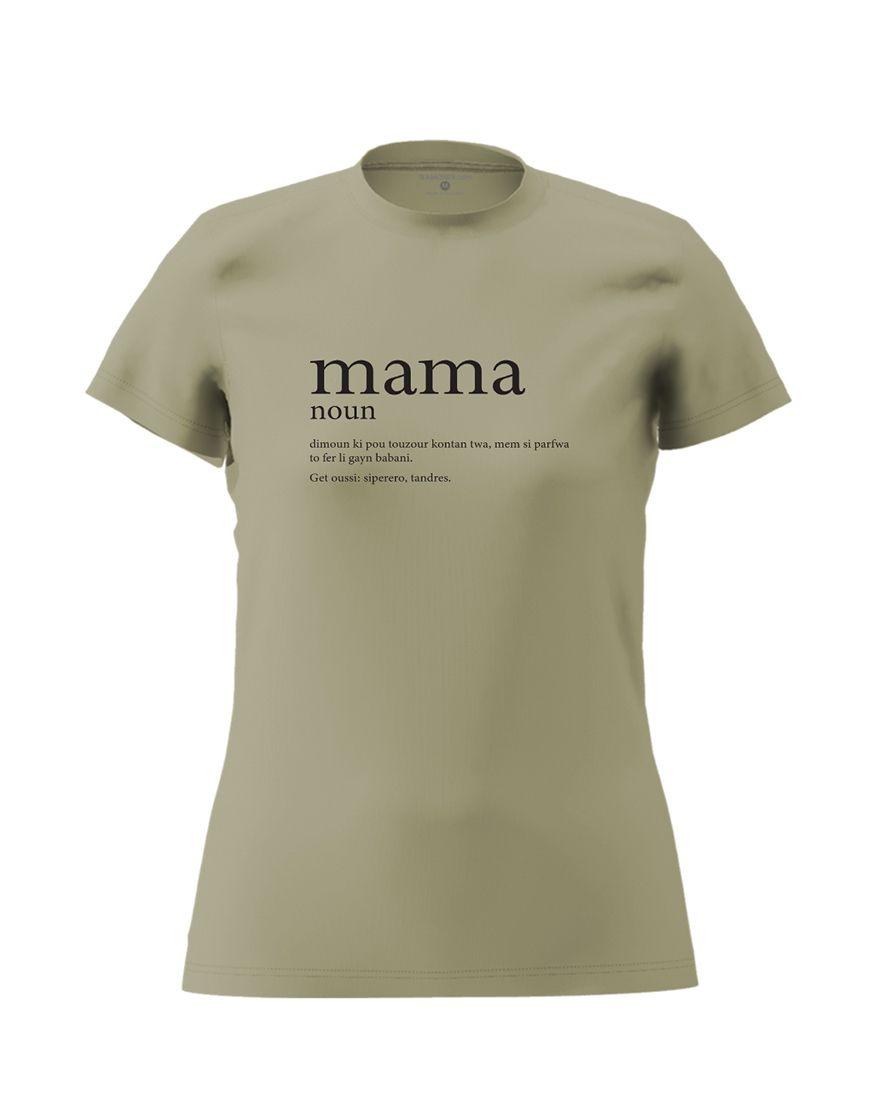 mama definition t shirt light khaki