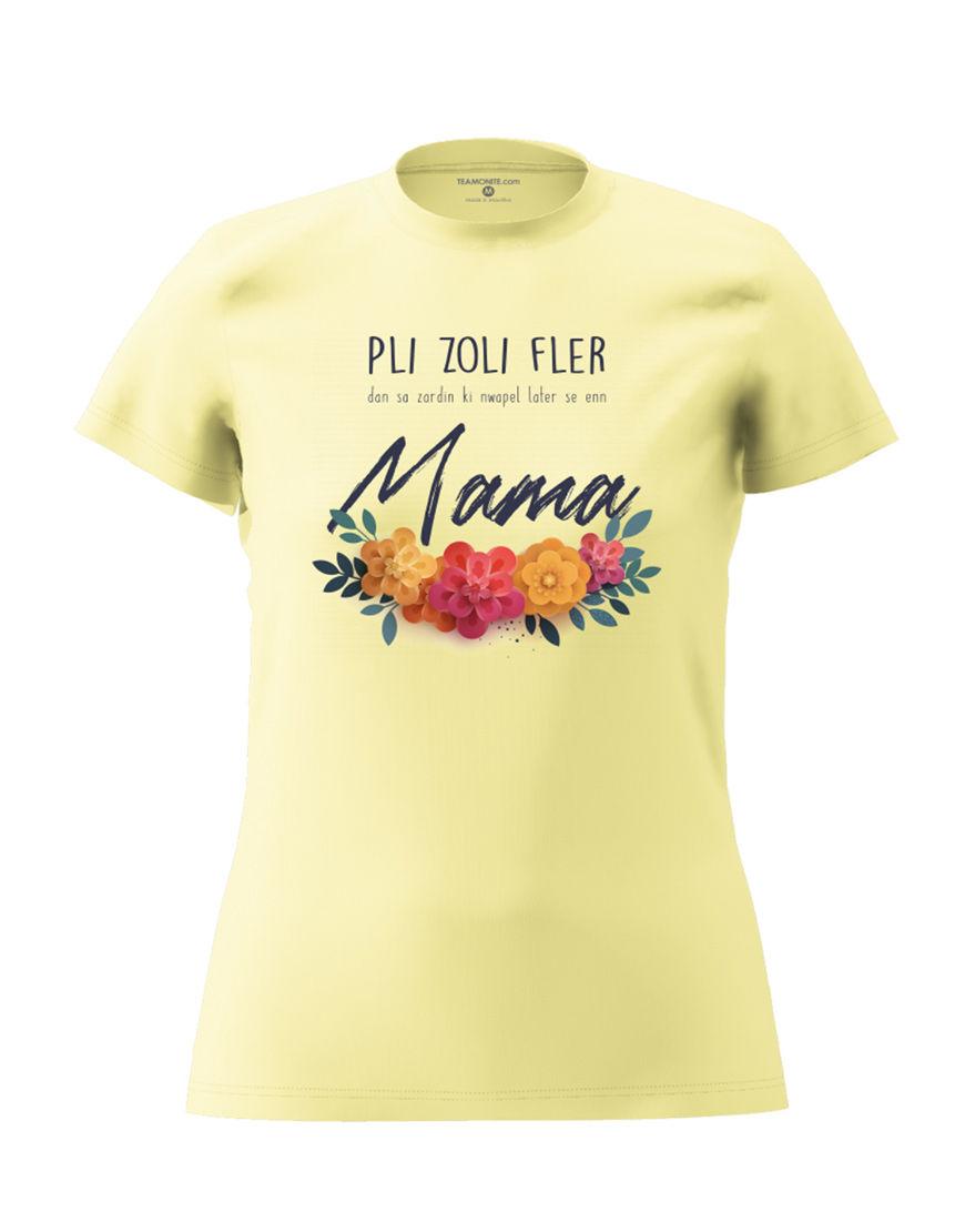 mama fler t shirt light yellow