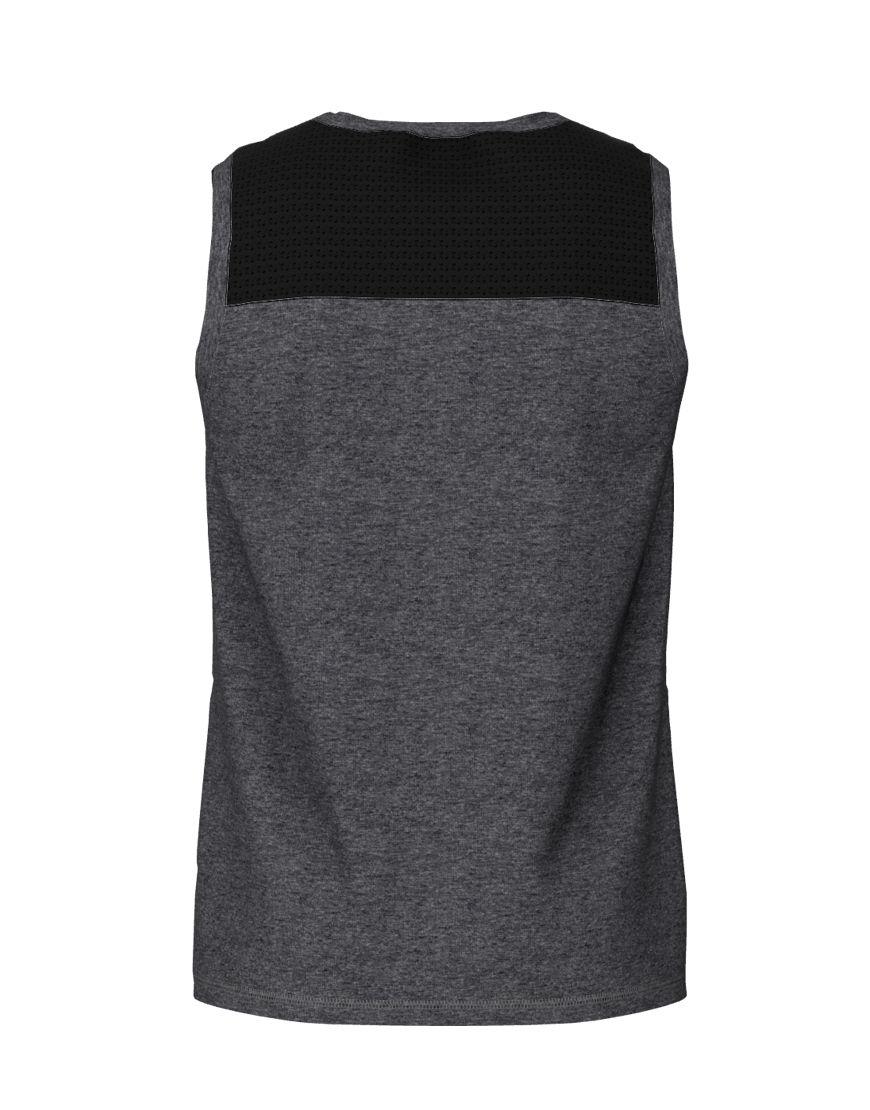 men performance sleeveless 3d top grey back