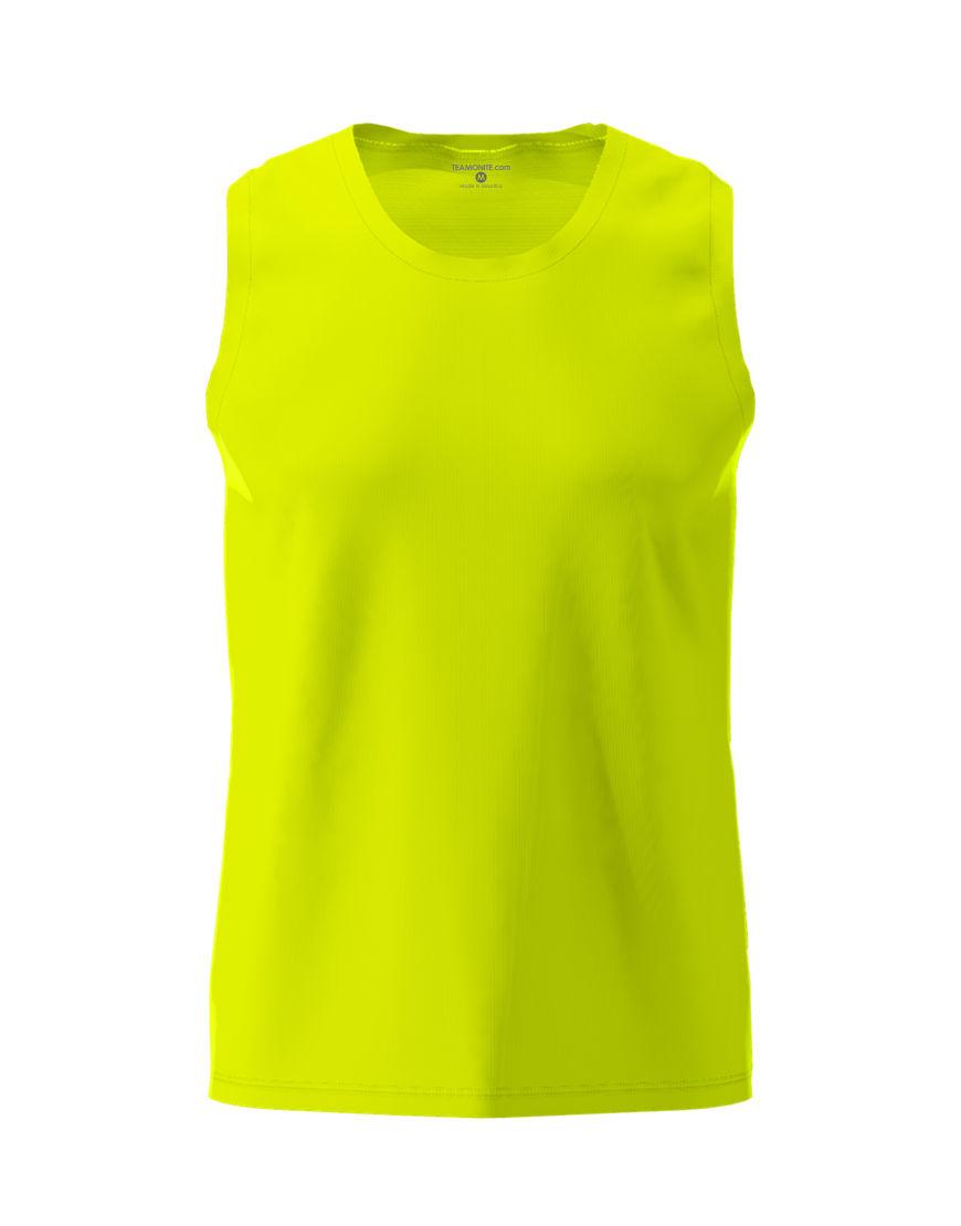 men performance sleeveless 3d top yellow fluo