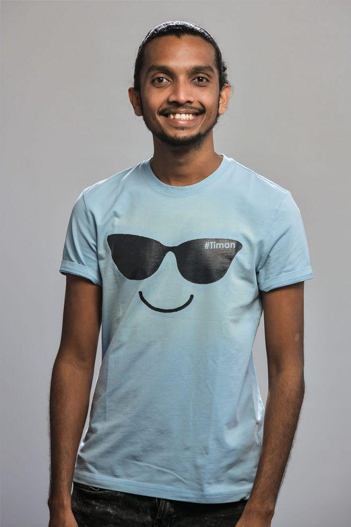 Men's Black Laksh Light Blue T-Shirt Model 2