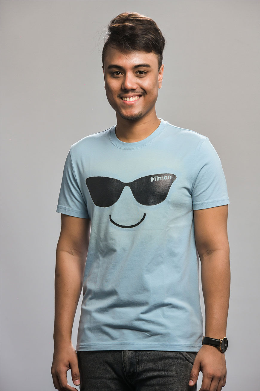 Men's Black Laksh Light Blue T-Shirt Model 1
