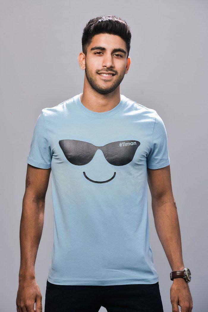 Men's Black Laksh Light Blue T-Shirt Model 3
