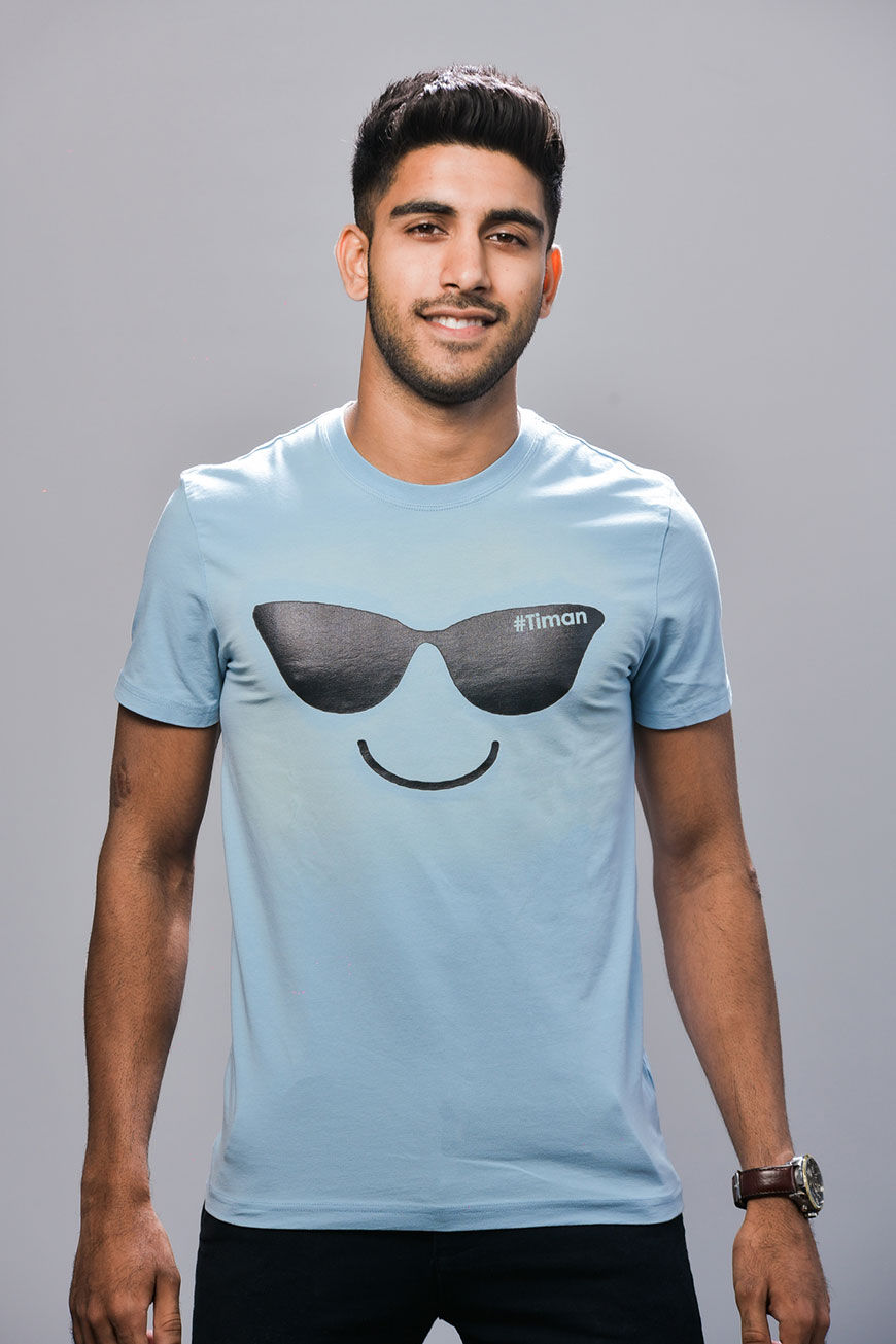 Men's Black Laksh Light Blue T-Shirt Model 3