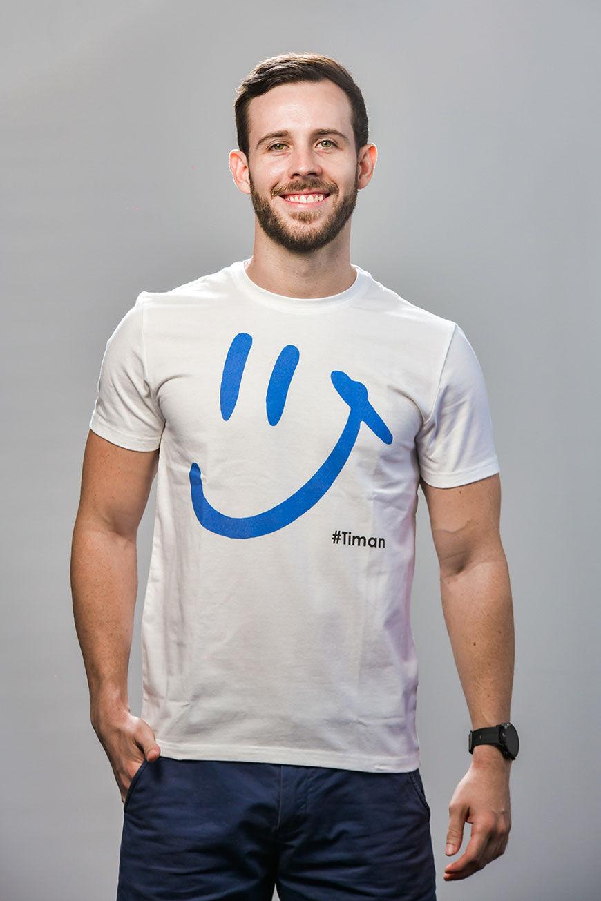 Men's Blue Luna White T-Shirt Model 1