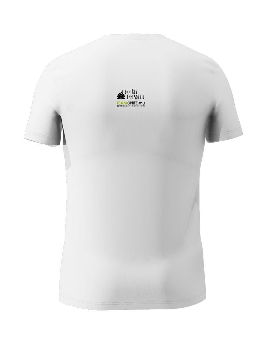 Mens Blue Timan White T-Shirt Back