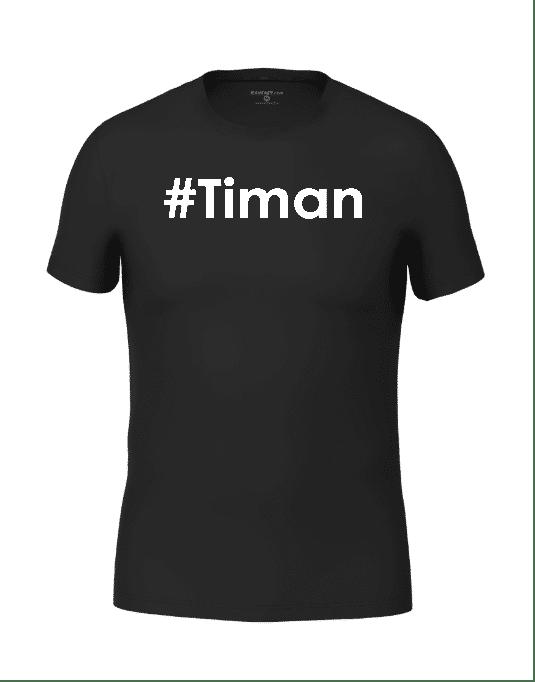 Mens White Timan Black T-Shirt
