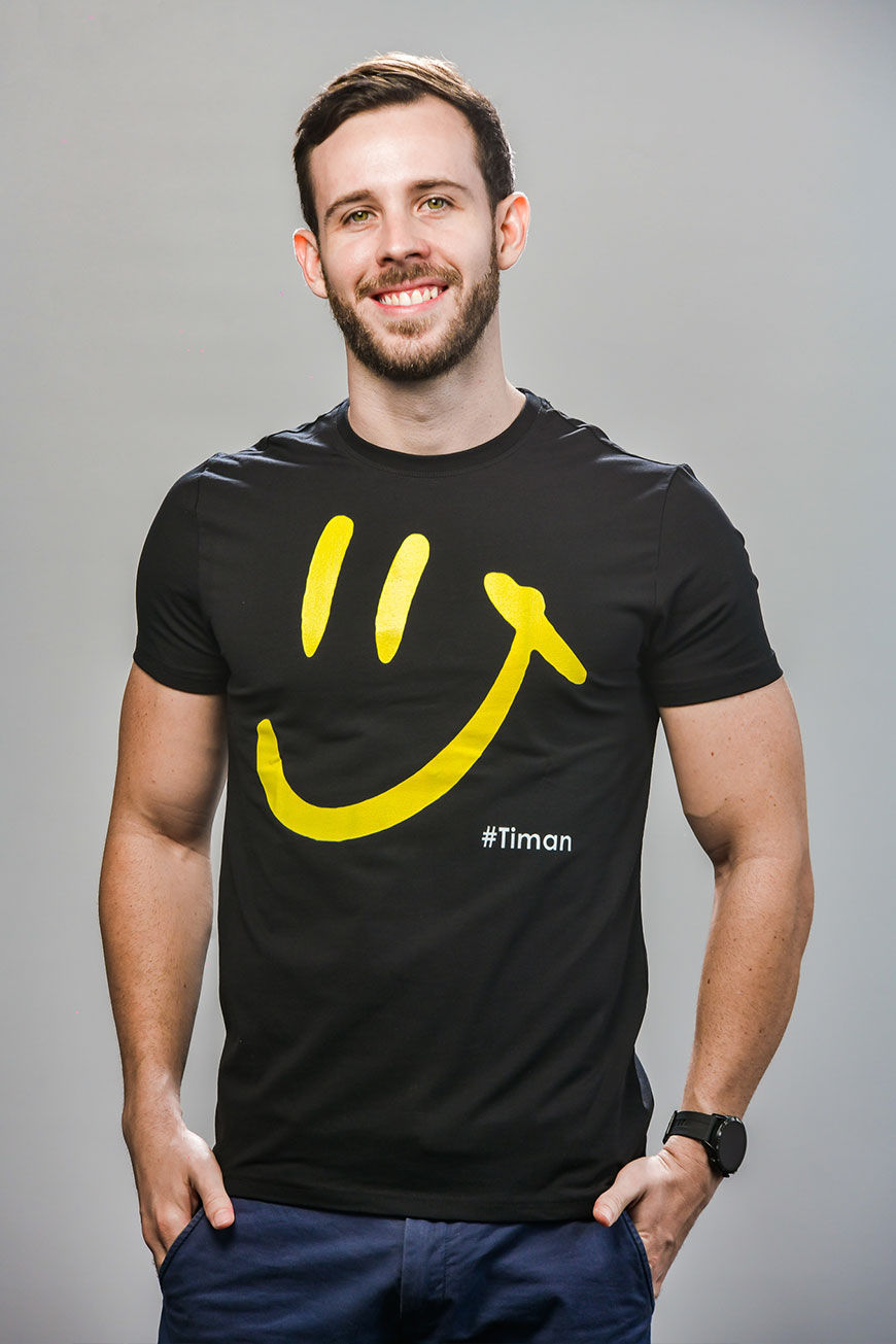 Men's Yellow Luna Black T-Shirt Model 2