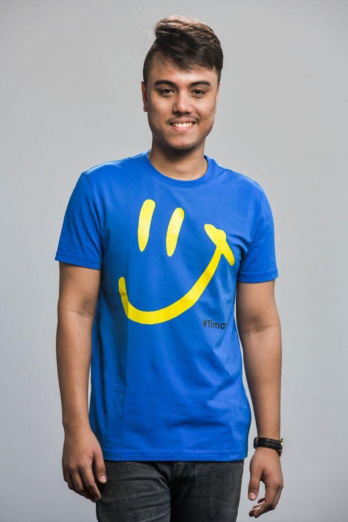 Men's Yellow Luna Blue T-Shirt Model 1