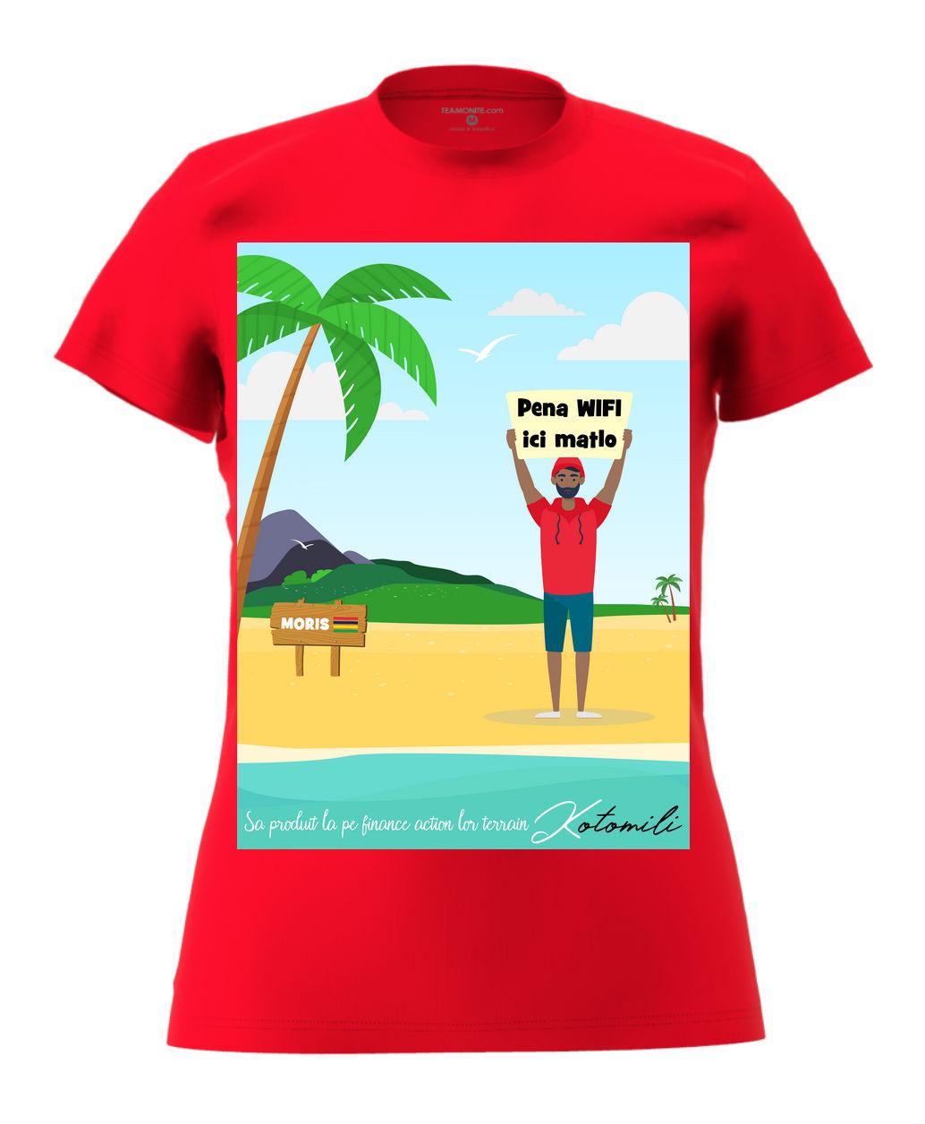 Pena WIFI ici Women's Modern Fit T-Shirt - Red