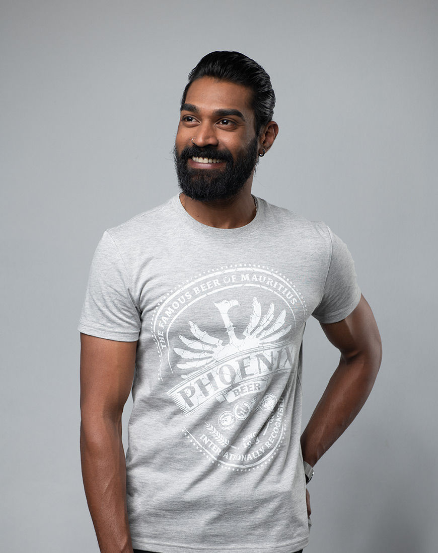 T-shirt Phoenix - The Famous Beer of Mauritius Grey