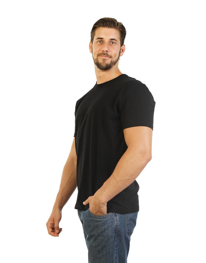 poly cotton stretch unisex t shirt black left