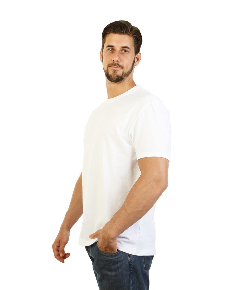 poly cotton stretch unisex t shirt white left