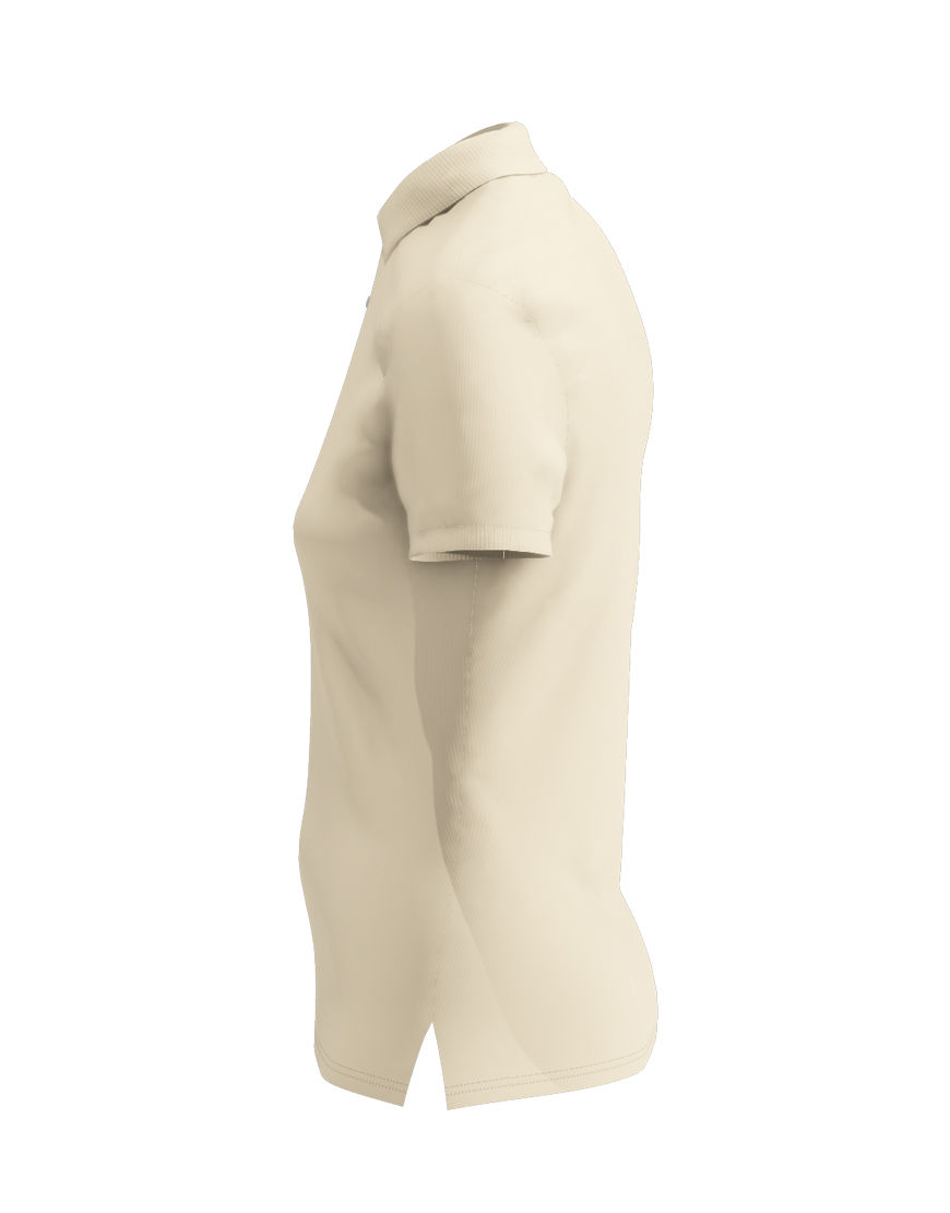 poly cotton women stretch 3d polo beige left