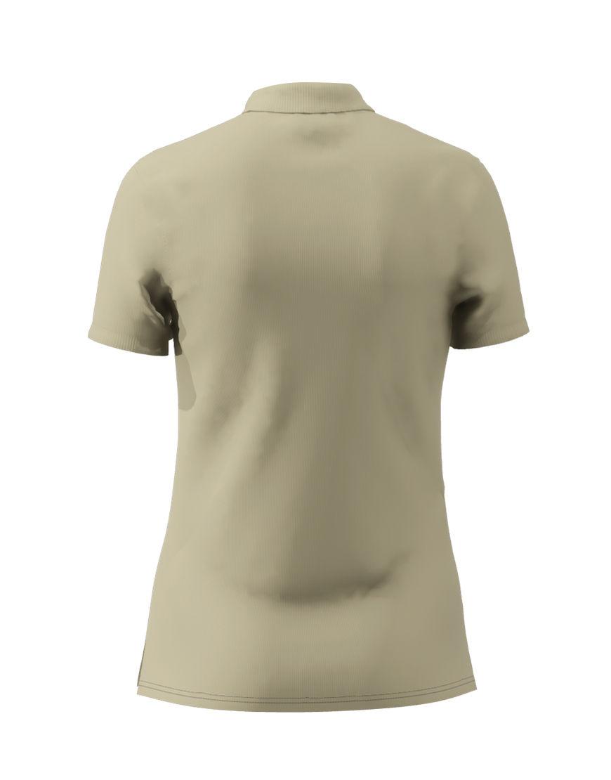 poly cotton women stretch 3d polo light khaki back