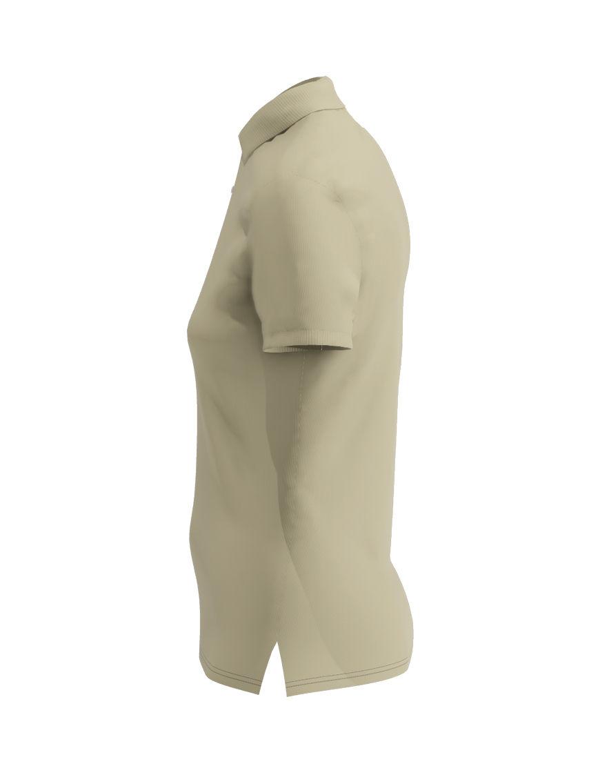 poly cotton women stretch 3d polo light khaki left