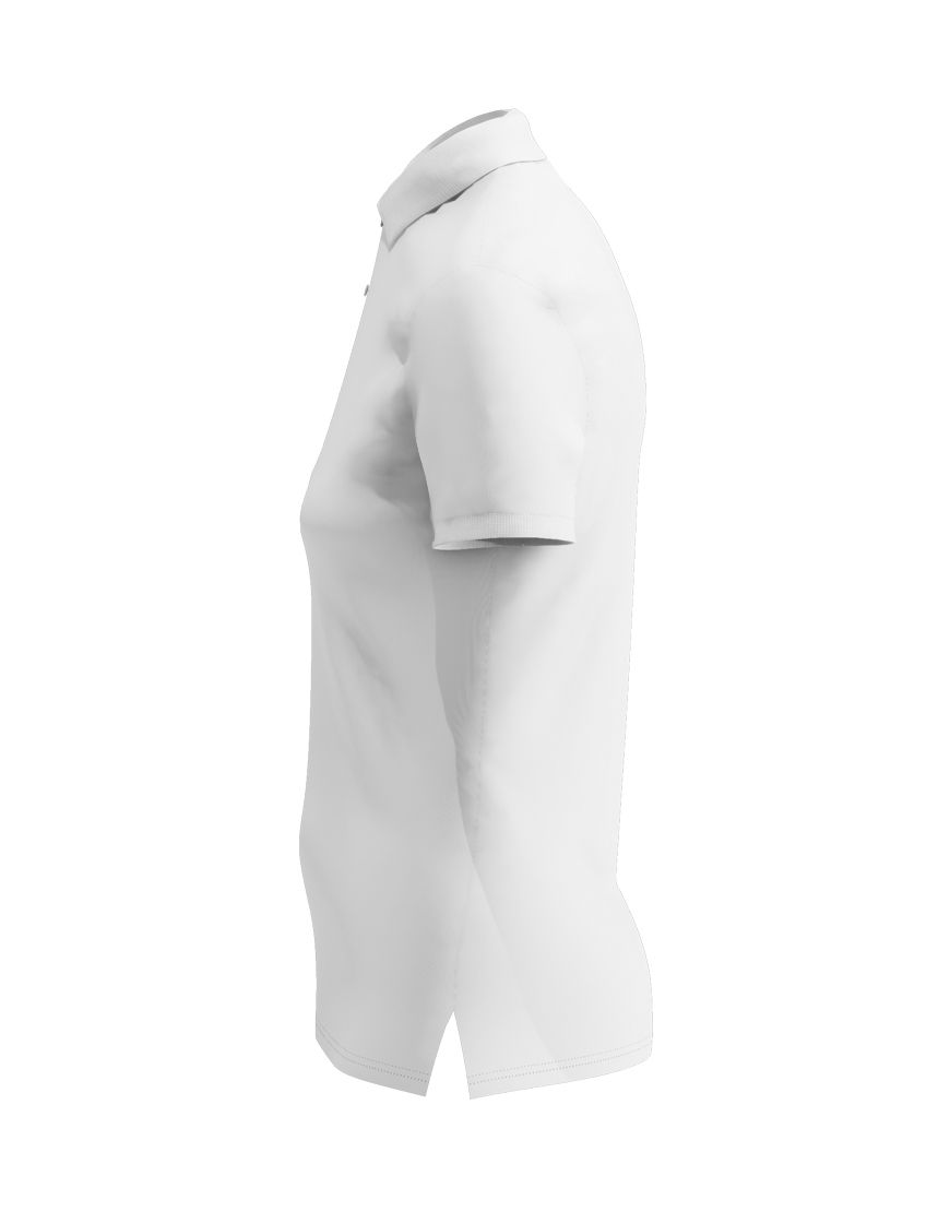 poly cotton women stretch 3d polo white left