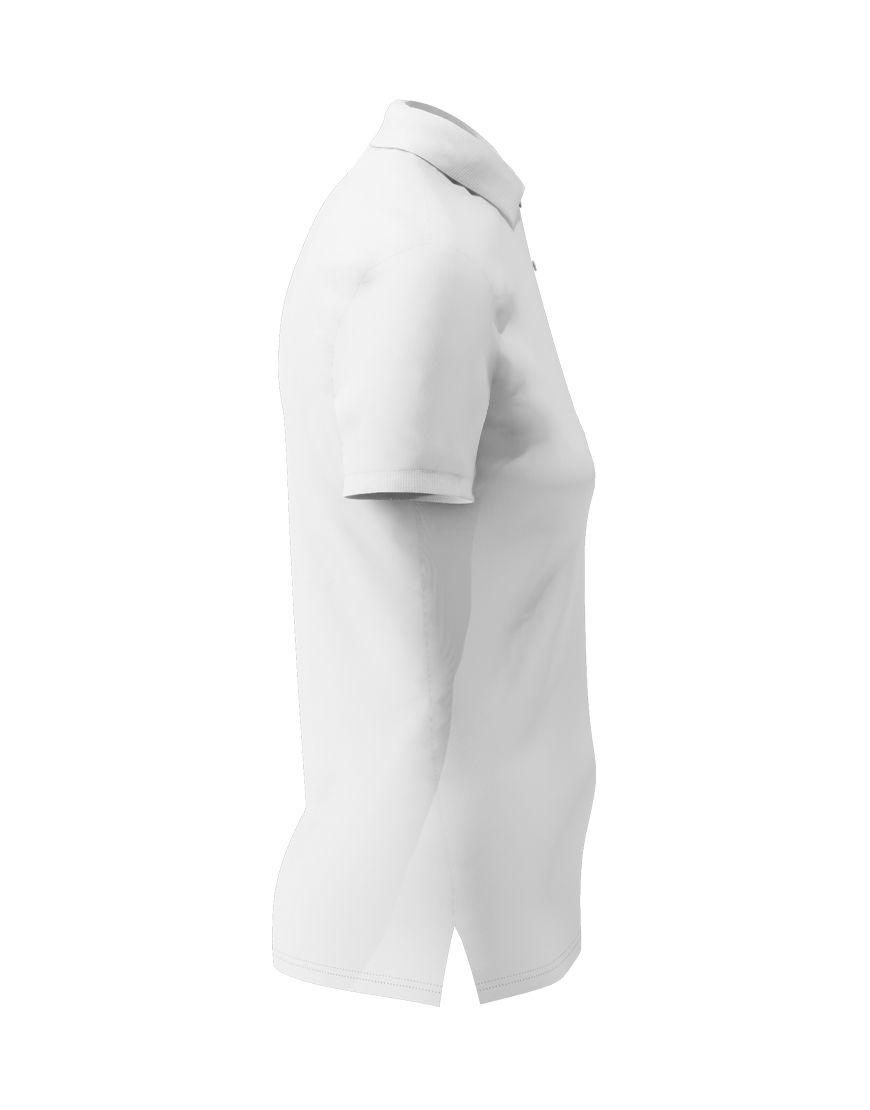 poly cotton women stretch 3d polo white right