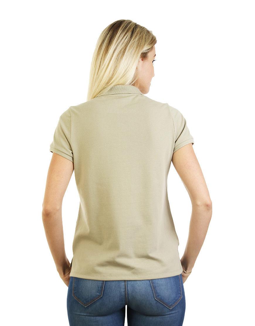poly cotton women stretch polo light khaki back