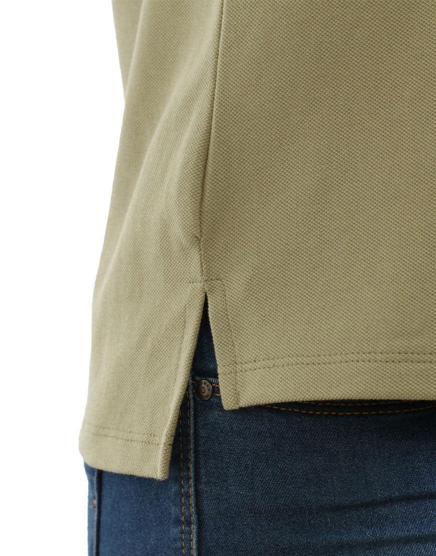 poly cotton women stretch polo light khaki detail