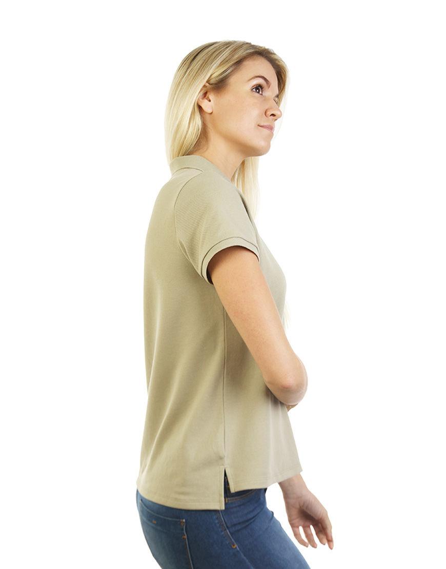 poly cotton women stretch polo light khaki right