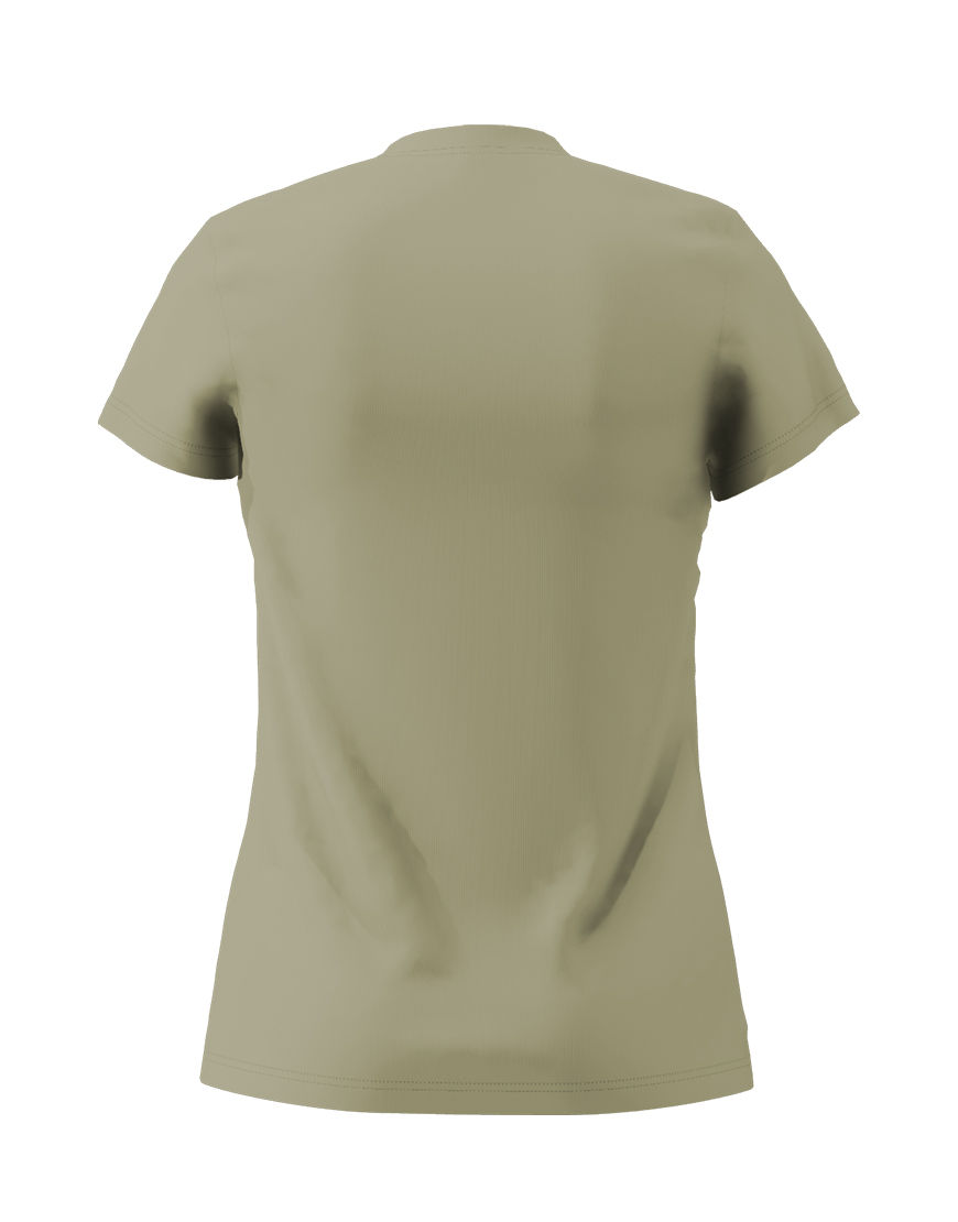 poly cotton womens 3d t shirt light khaki back